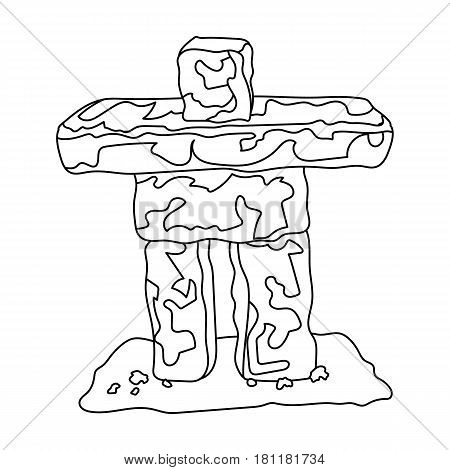 Stone sculpture in canada. Canada single icon in outline style vector symbol stock illustration .