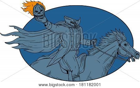 Drawing sketch style illustration of a headless horseman riding horse holding pumpkin head Jack-o-Lantern viewed from the side set inside oval shape on isolated background.