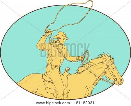 Drawing sketch style illustration of a cowboy holding lasso riding horse viewed from the side set inside circle on isolated background.