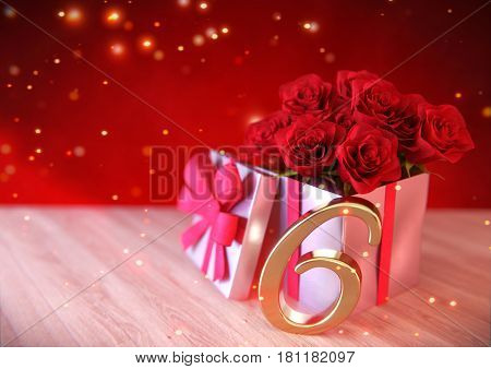 birthday concept with red roses in gift on wooden desk. 3D render - sixteenth birthday. 16th