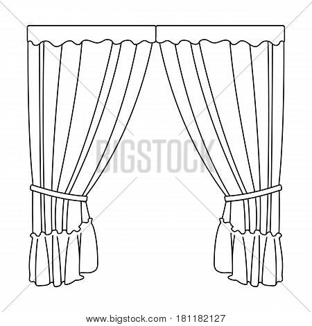 Curtains with drapery on the cornice.Curtains single icon in outline style vector symbol stock illustration .