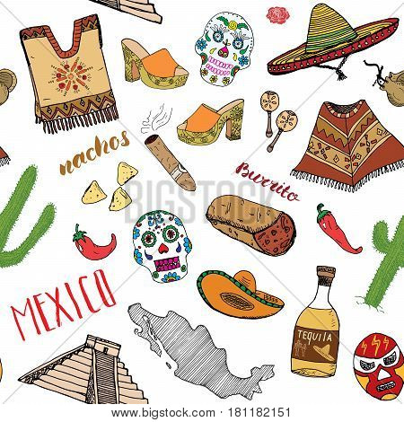 Mexico seamless pattern doodle elements Hand drawn sketch mexican traditional sombrero hat boots poncho cactus and tequila bottle map of mexico burrito skull. vector illustration background.
