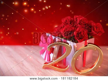 birthday concept with red roses in the gift on wooden desk. 3D render - twentieth birthday. 20th