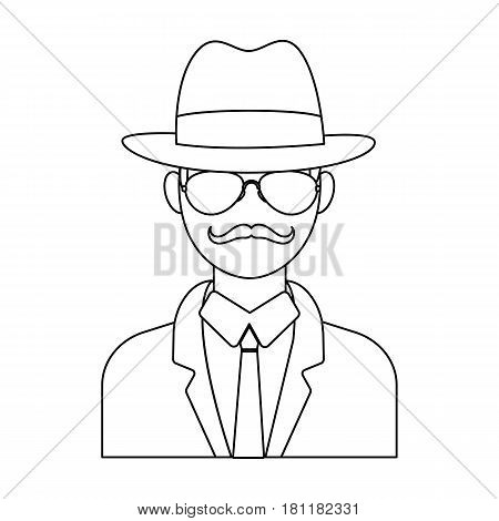 Man in hat suit raincoat and glasses. The detective undercover.Detective single icon in outline style vector symbol stock web illustration.