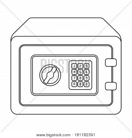 Realistic Steel safeSafe under combination lock. Metal box is hard to open.Detective single icon in outline style vector symbol stock web illustration.