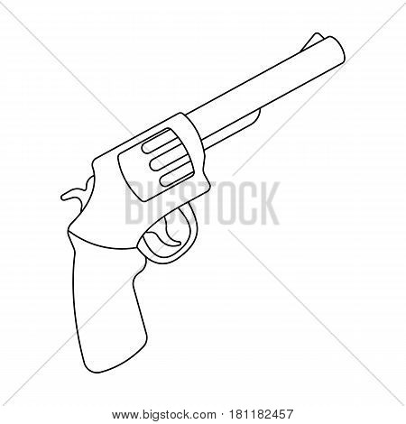 Pocket revolver. The weapons detective, for protection from robbers.Detective single icon in outline style vector symbol stock web illustration.
