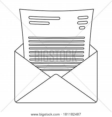 The envelope with the letter inside.A letter for the detective.Detective single icon in outline style vector symbol stock web illustration.