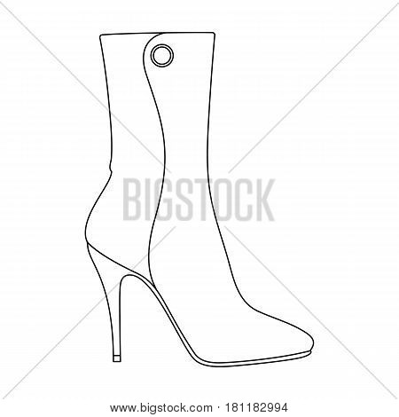 Demi tall womens boots high heel.Different shoes single icon in outline style vector symbol stock web illustration.