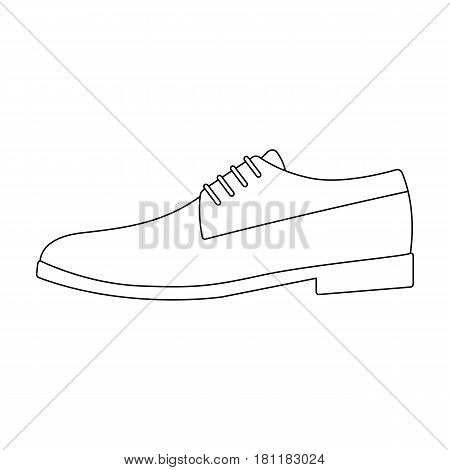 Mens leather shiny shoes with laces. Shoes to wear with a suit.Different shoes single icon in outline style vector symbol stock web illustration.