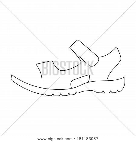 Men summer brown leather sandals on a bare foot.Different shoes single icon in outline style vector symbol stock web illustration.