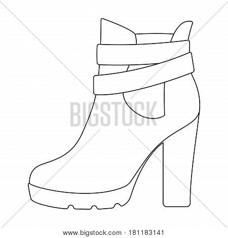 High women red shoes for everyday wear .Different shoes single icon in outline style vector symbol stock web illustration.