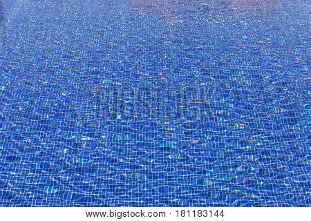Texture background of water in a blue pool.