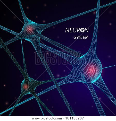 3D neuron system model. Vector graphic design element for science publication.