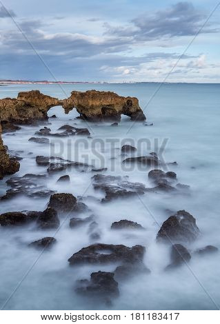 Dramatic landscape of the beach in Albufeira. POrtugal
