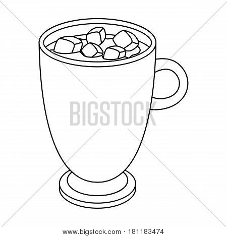 A cup of hot chocolate.Different types of coffee single icon in outline style vector symbol stock illustration .