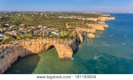 Beach of Benagil is taken from the sky. Algarve Carvoeiro