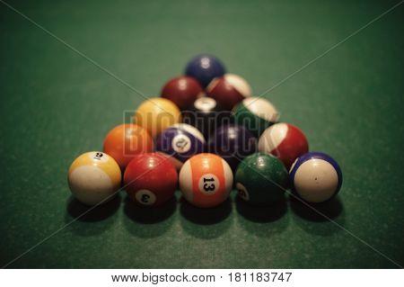 Triangle of billiard balls. American billiard poule.