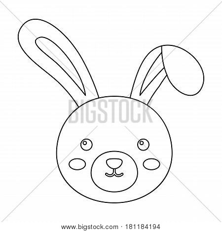 Grey rabbit with long ears. Easter single icon in outline style vector symbol stock web illustration.
