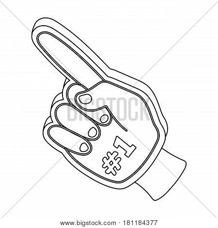 Number one is the fan's glove.Fans single icon in outline  vector symbol stock illustration.