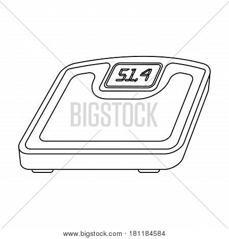 The scales in the gym for the weighing.Gym And Workout single icon in outline style vector symbol stock web illustration.