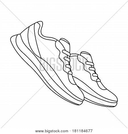 Blue sneakers for sports. Sports shoes .Gym And Workout single icon in outline style vector symbol stock web illustration.