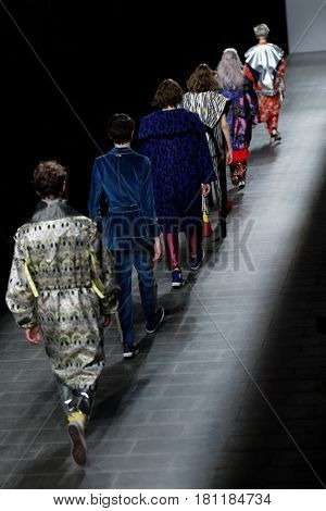 ST. PETERSBURG, RUSSIA - APRIL 1, 2017: Collection of Anastasia Dokuchaeva on the fashion show during Mercedes-Benz Fashion Day St. Petersburg. It is one of the most popular fashion events of the city