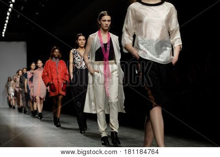 ST. PETERSBURG, RUSSIA - APRIL 1, 2017: Collection of VIKKI at the fashion show during Mercedes-Benz Fashion Day St. Petersburg. It is one of the most popular fashion events of the city