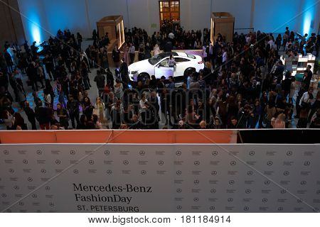 ST. PETERSBURG, RUSSIA - APRIL 1, 2017: Presentation of new E-class coupe during Mercedes-Benz Fashion Day St. Petersburg. Powerful engines provide guarantee of a sporty and agile driving experience