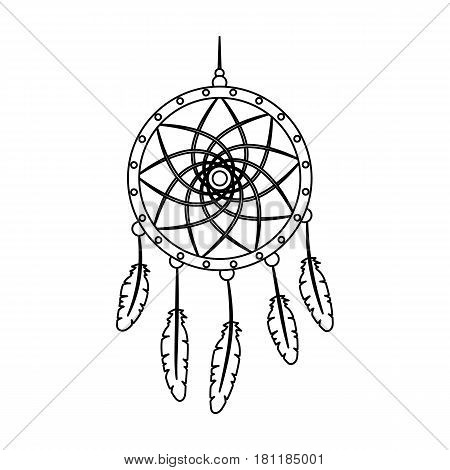Dream catcher with feathers.Hippy single icon in outline style vector symbol stock illustration .