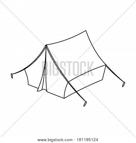 Blue tent with pegs.Hippy single icon in outline style vector symbol stock illustration .