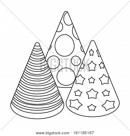 Caps in the form of cones for party.Party and parties single icon in outline style vector symbol stock web illustration.