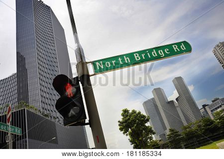 urban landscape in Singapore Asia featuring morning view of financial district with modern design office building and business skyscraper in geometric architecture concept and steel texture