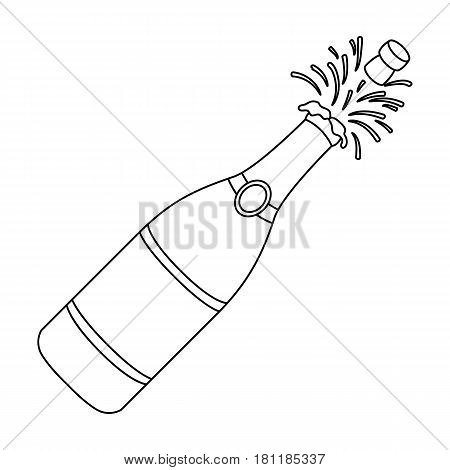 A bottle of champagne with a cork.Party and parties single icon in outline style vector symbol stock web illustration.