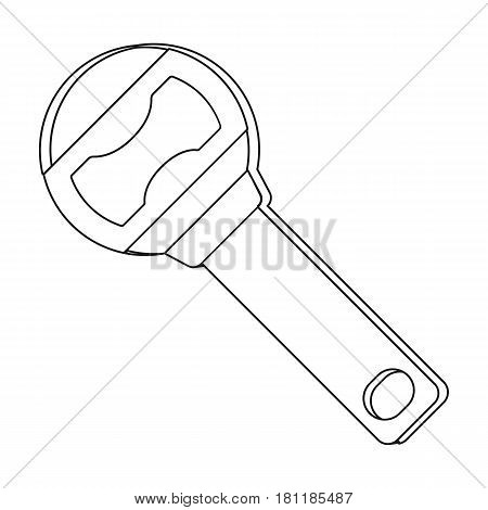 Metal bottle opener for beer bottles.A device for opening beer. Pub single icon in outline style vector symbol stock web illustration.