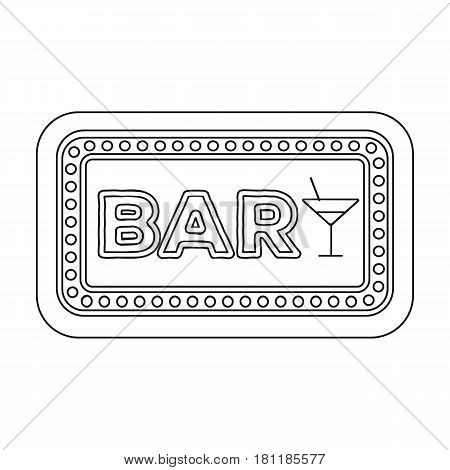 Advertising bar. The sign in front of the bar with pink lettering. Pub single icon in outline style vector symbol stock web illustration.