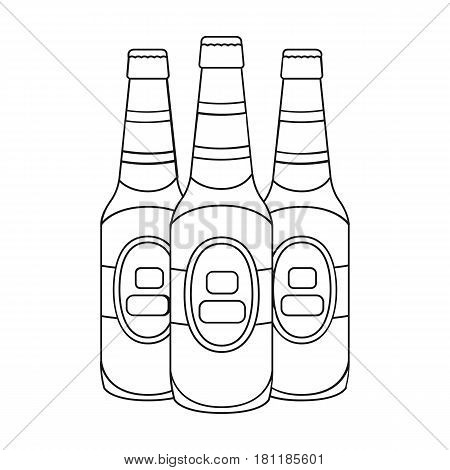 Green glass beer bottles. Alcoholic drink pub. Pub single icon in outline style vector symbol stock web illustration.