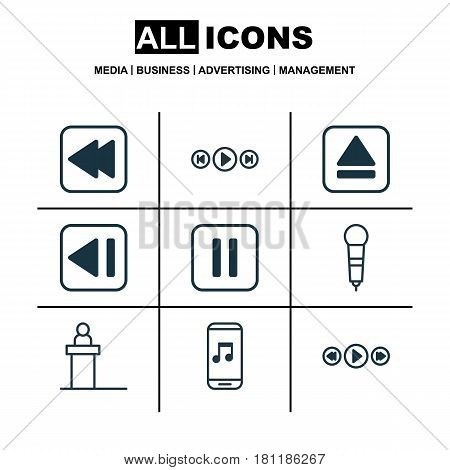 Set Of 9 Multimedia Icons. Includes Last Song, Music Control, Extract Device And Other Symbols. Beautiful Design Elements.
