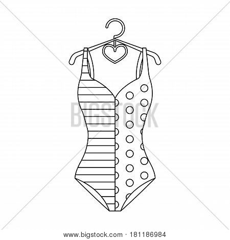 Pink swimsuit for the beach stripe and star.Swimming costume.Swimcuits single icon in black style vector symbol stock web illustration.