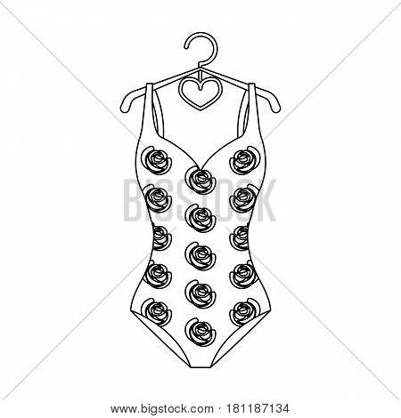 Crashing red swimsuit with a print of roses. Beach wear.Swimcuits single icon in black style vector symbol stock web illustration.