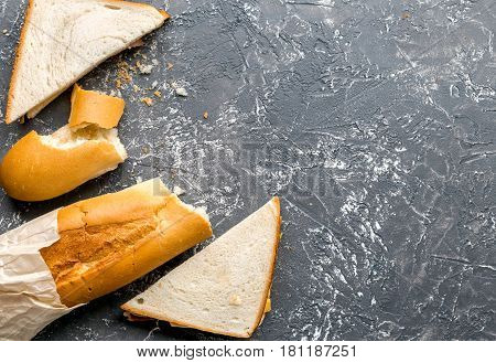 natural food set with sandwich and baguette on gray table background top view mock-up