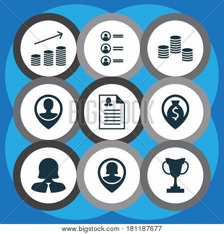 Set Of 9 Management Icons. Includes Business Woman, Employee Location, Money Navigation And Other Symbols. Beautiful Design Elements.