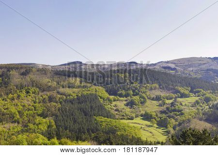 Green mountains of Biscay Basque country Spain. Photo taken from the town of Galdames in a sunny day on spring.