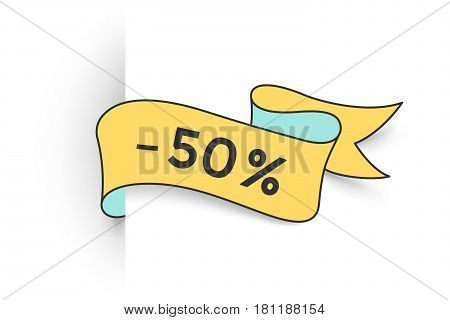 Ribbon banner with text 50 percent for discount, promotion. Colorful realistic sticker, banner for sale, shopping, market, business theme. Ribbon label isolated on white background. Vector Illustration
