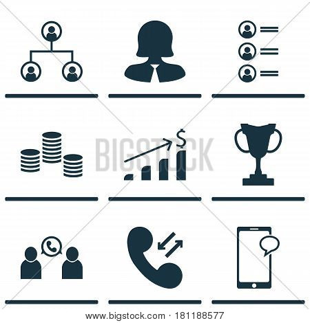 Set Of 9 Human Resources Icons. Includes Cellular Data, Tournament, Money And Other Symbols. Beautiful Design Elements.