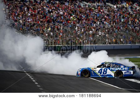 April 09, 2017 - Ft. Worth, Texas, USA: Jimmie Johnson (48) wins the O'Reilly Auto Parts 500 at Texas Motor Speedway in Ft. Worth, Texas.