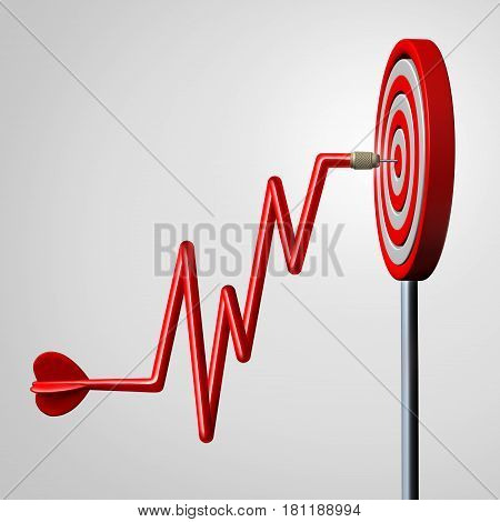 Profit target goal as a dart shaped as a rising financial chart diagram hitting a dartboard in the center as a business success metaphor for reaching strategic profitable revenue as a 3D illustration.