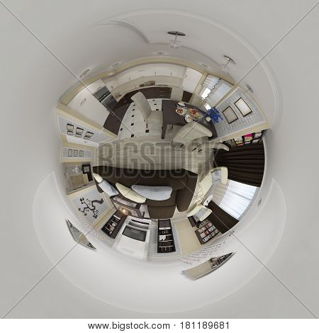 3d illustration spherical 360 degrees, seamless panorama of living room and kitchen interior design. The room in a modern classic style. Tiny little planet