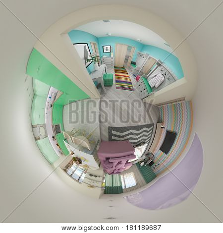 3d illustration spherical 360 degrees, seamless panorama of  living room and kitchen interior design. Modern studio apartment in the Scandinavian minimalist style. Tiny little planet