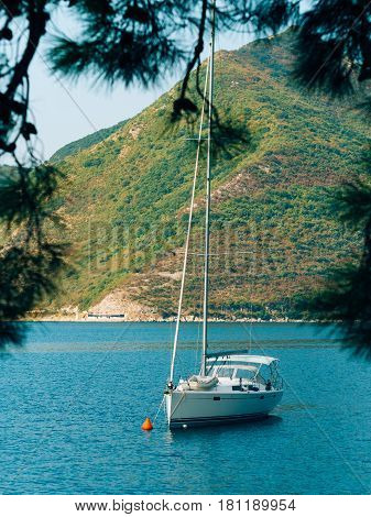 Yachts, boats, ships in the Bay of Kotor, Adriatic Sea, Montenegro Balkans