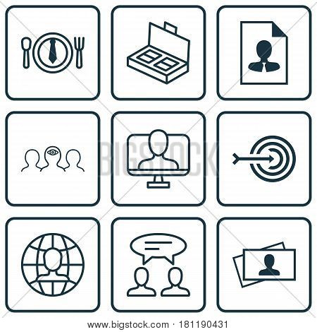 Set Of 9 Business Management Icons. Includes Calling Card, Dialogue, Online Identity And Other Symbols. Beautiful Design Elements.